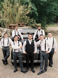 I think it would be cute with Groom in full suit, best man in vest, groomsmen in suspenders and with a tractor instead of the car Wedding Men, Wedding Groom, Wedding Suits, Wedding Attire, Wedding Styles, Wedding Photos, Dream Wedding, 50s Wedding, August Wedding