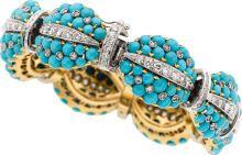 Estate Jewelry:Bracelets, Turquoise, Diamond, Gold Bracelet - Outfit 353