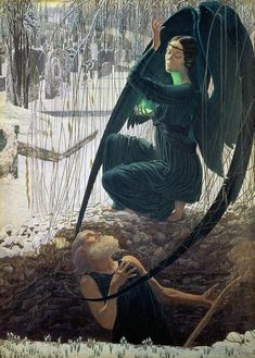 """Carlos Schwabe """"The Death of the Gravedigger"""" circa 1890 #painting #classic #art"""
