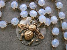Häkeln-Biene-Anhänger Halskette - Honey Bee - Sommer Festival Land Boho Schmuck gelötet Anhänger Halskette Opal Insekt Schmuck Böhmische
