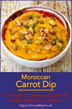 Moroccan Carrot Dip. A versatile and delicious piquant dip from North Africa. Simple, healthy and colourful, it makes a great dip, spread or topping. Also a fabulous contribution to a mezze type meal. #TinandThyme #CarrotDip #DipsandSpreads #NorthAfricanRecipe #CarrotRecipes