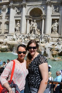 At Trevi Fountain, the largest Baroque fountain in Rome and one of the most famous fountains in the world. It has appeared in several notable films, including Federico Fellini's La Dolce Vita.