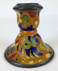 Rare-1920s-Art-Nouveau-Breetvelt-Gouda-Pottery-Candlestick-Vintage-Antique-Fine