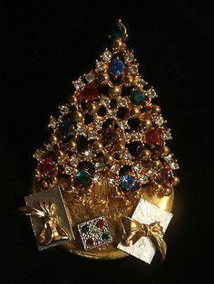 Rare Christmas Tree Pin / Brooch - Signed EISENBERG ICE