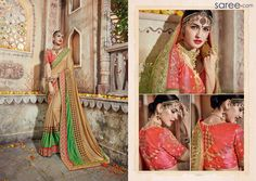 BEIGE AND GREEN GEORGETTE SAREE WITH EMBROIDERY WORK