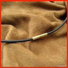 Kautschukkette, 585er G.Gold Bajonettverschluss, Kautschuk Ø 2 mm, Länge wählbar