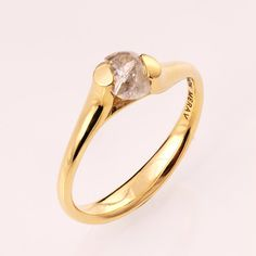 Raw Diamond Engagement Ring - 14K Gold Tension Set Engagement Ring, Unique…