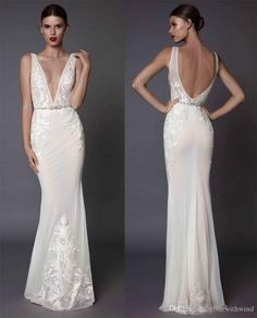 Sexy Sheath Wedding Dresses Muse Berta 2017 Bridal Deep Plunging V Neckline Embroidered Bodice Open Low Back Sweep Train Ruching Wedding Dresses Satin Sheath Wedding Dress From Gonewithwind, $402.02| Dhgate.Com