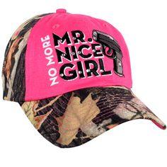 $7.50 No More Mr. Nice Girl Camo Baseball Cap