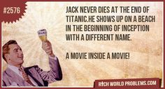 Jack never dies at the end of titanic.he shows up on a beach in the beginning of inception with a different name.