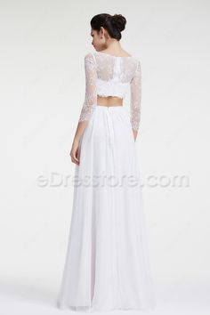 The beach wedding dress is two pieces, the top is made of tulle and lace with long sleeves, A Line chiffon skirt finishing with floor length.