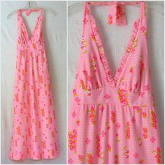 70s Halter Dress Empire Waist Maxi Dress Boho Sundress Pink Floral Dress 1970s Dress by ultravioletvintage  #boho #70s #maxidress #halterdress