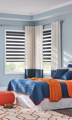 Bali Blinds Layered Shades give you ultimate control over the light. Make things even more simple with motorized control—you won't even have to get out of bed! #LayeredShades #Bedroom