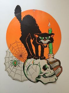 vtg 60s 70s beistle die cut halloween black cat skullspider dripping candle - Beistle Halloween Decorations