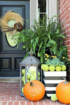 Fall porch..lime green. Looks so fresh