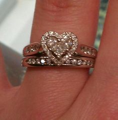 Antique Style Moissanite and Diamond Engagement Ring 1 Carat (ctw) in Yellow Gold - Jewelry Springs Heart Wedding Rings, Heart Engagement Rings, Wedding Jewelry, Heart Shaped Rings, Heart Shaped Diamond, Heart Rings, Pretty Rings, Beautiful Rings, Heart Jewelry