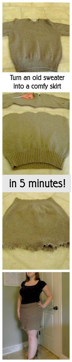 Easy beginner sewing project: Upcycle an old sweater into a comfy skirt!
