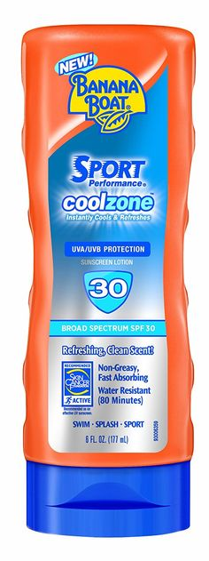 Banana Boat Sunscreen Sport Performance Cool Zone Broad Spectrum Sun Care Sunscreen Lotion - SPF 30, 6 Ounce -- Quickly view this special  product, click the image : Sunscreens Tanning Products