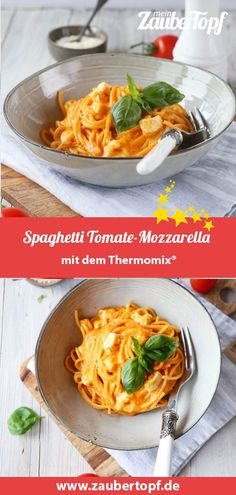 The best spaghetti tomato mozzarella - our recipe for the Thermomix! This recipe is perfect - The best spaghetti tomato mozzarella – our recipe for the Thermomix! This recipe is the perfect m - Pasta Recipes, Salad Recipes, Healthy Recipes, Guacamole, Kids Meals, Easy Meals, Pasta Cremosa, Best Spaghetti, Childrens Meals