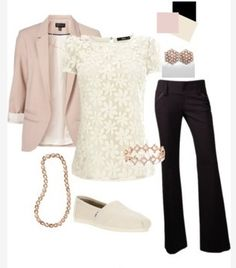 Lace shirt, blush sweater, black pants (needs fancier shoes)