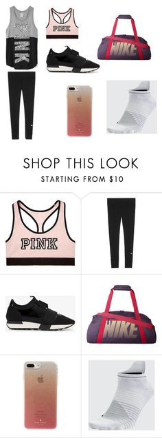 """""""gym outfit"""" by serenityreigndavis on Polyvore featuring Victoria's Secret, Balenciaga, NIKE and Kate Spade"""