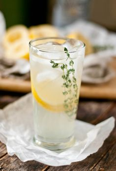 Lemon-Thyme Tequila Spritzer .. How to =  Combine Lemon-Thyme Simple Syrup  (Zest of 1 lemon 3 sprigs of fresh thyme 1 1/2 cups granulated sugar 1 1/2 cups water)  With whole lemon juice,  Club Soda/Seltzer Water, silver Tequila, stir all well and garnish with  thyme sprigs and thin slices of lemon  .. Enjoy!