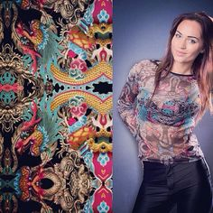 #kociara #printadress #spoonflower #textile #fabric design #print design #illustration #fashion #chinese dragon #top #mesh #funky #photo #pa...