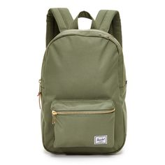 Herschel Supply Co. Settlement Mid Volume Backpack (€54) ❤ liked on Polyvore featuring bags, backpacks, deep lichen green, herschel supply co bag, herschel supply co., padded backpack, zip top bag e green bags