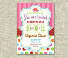 Circus Birthday Invitation Big Top Red White Stripes Elephant Dots Printable - by girlsatplay girls at play. $12.00, via Etsy.