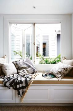 Bench Cushion For Window Seat.Cushions For Banquette And Window Seat Best Online . How To Create DIY Window Seat Cushion Decor Around The World. Home Design Ideas Cottage Renovation, Home Renovation, Bedroom Windows, Bay Windows, My New Room, Home And Living, Bedroom Decor, Wood Bedroom, Blue Bedroom