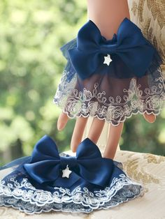 Sweet Lolita Oversleeve Lace Trim Deep Blue Satin Bow Starlet Decor Lolita Accessories - Milanoo.com Kawaii Fashion, Lolita Fashion, Cute Fashion, Rock Fashion, Emo Fashion, Style Lolita, Gothic Lolita, Old Fashion Dresses, Fashion Outfits
