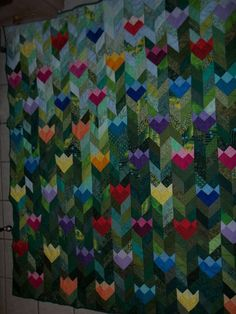 tulip quilt - Great way to use up small scraps and lots of greens