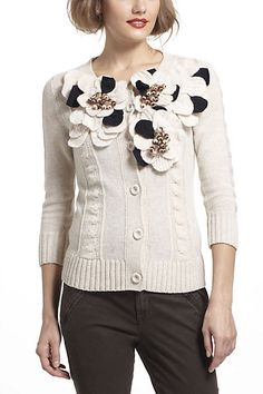 Dimensional Petals Cardi #anthropologie    no need for accessories......like jewelry when you have an amazing cardi like this!