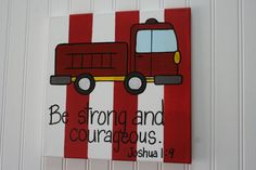 Strong and Courageous Fire Truck Nursery 11x14 by TheMerryMarket, $42.99