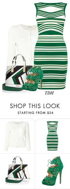 """""""Striped Dress"""" by talvadh ❤ liked on Polyvore featuring P.A.R.O.S.H., Karen Millen, River Island and Charlotte Olympia"""