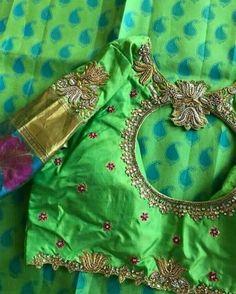 South Indian Blouse Designs, Simple Blouse Designs, Silk Saree Blouse Designs, Bridal Blouse Designs, Blouse Neck Designs, Blouse Patterns, House Of Blouse, Maggam Work Designs, Sari Design
