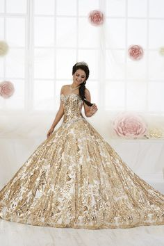 c4a81fa7930 18 Best Gold Quinceanera Dresses images in 2019