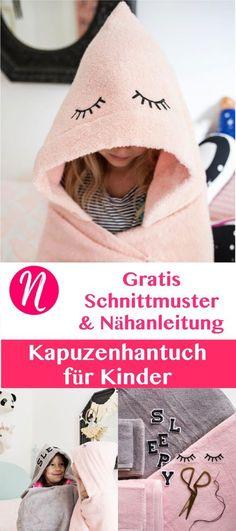Badetuch ❤ Kapuzenhandtuch ❤ Kapuzentuch aus Frottee für Kinder selber nähen ❤ DIY ❤ Nähanleitung ❤ Nähtalente - Magazin für kostenlose Schnittmuster ❤