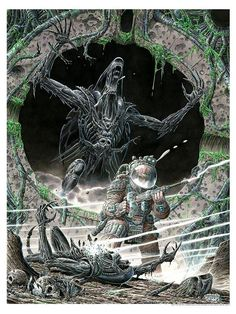 Limited edition prints available at the Dark Ink Art booth ( during the San Diego Comic Con July Giger Alien, Predator Alien, Wolf Predator, Alien Concept Art, Aliens Movie, Alien Art, Xenomorph, Fantasy Paintings, Marvel