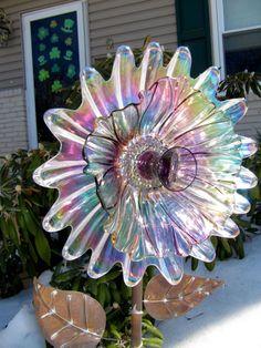 vintage glass plate flower upcycled glass art by ADelicateTouch1