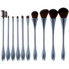 My Makeup Brush Set Stone Blue 10-Piece Hourglass Brush Set ($27) ❤ liked on Polyvore featuring beauty products, makeup, makeup tools, makeup brushes, hair brush, set of brushes and set of makeup brushes