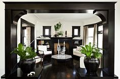 Suzie: Jessica Helgerson Interior Design - Gorgeous living room with glossy black brown ...