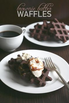 Brownie Batter Waffles - Low Carb - Rich, chocolate-y low carb brownie batter poured onto a hot waffle iron. Top it all of with some sugar-free caramel sauce and you are in keto dessert heaven! Make no mistake, my friends, these are . Low Carb Desserts, Low Carb Recipes, Cooking Recipes, Delicious Desserts, Dessert Recipes, Yummy Food, Cereal Recipes, Dessert Light, Cake Candy