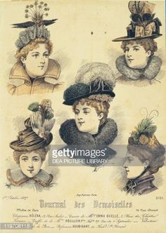 Fashion, 19th century. Fashion plate depicting hats. From Journal des Demoiselles, 1897.