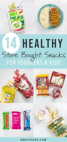 These 14 Healthy Store-Bought Snacks for Toddlers are ready-to-eat items for on-. - These 14 Healthy Store-Bought Snacks for Toddlers are ready-to-eat items for on-the-go snacking. Healthy Store Bought Snacks, Healthy Snacks To Buy, Healthy Toddler Snacks, Healthy Recipes, Healthy Meal Prep, Toddler Meals, Clean Eating Snacks, Baby Food Recipes, Kids Meals