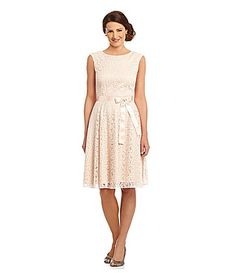Tahari by ASL Flocked Lace Dress #Dillards