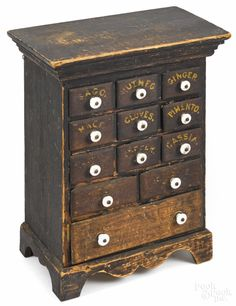 """Pennsylvania painted poplar spice chest, late 19th c., 20 1/2"""" h., 13"""" w."""