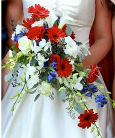 Bridal Bouquet of Red, White and Blue-Perfect for a Military wedding.  Atlanta Wedding Flowers.  Atlanta Florist
