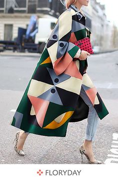 Fashion Geometry Printed Colorful Loose Woolen Long Coat , Fashion Geometry Printed Colorful Loose Woolen Long Coat , Style inspiration Source by knotowear Look Fashion, Fashion Beauty, Winter Fashion, Fashion Tips, Fashion Design, Womens Fashion, Trendy Fashion, Fashion Coat, Feminine Fashion
