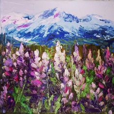 """""""Lupines""""original palette knife oil painting by Peggy Ann Thompson"""